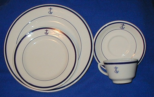 500 USN Dishes (Wardroom Mess) various pieces with familiar blue ring and fouled anchor. Cups saucers plates bowls. & U.S. Navy